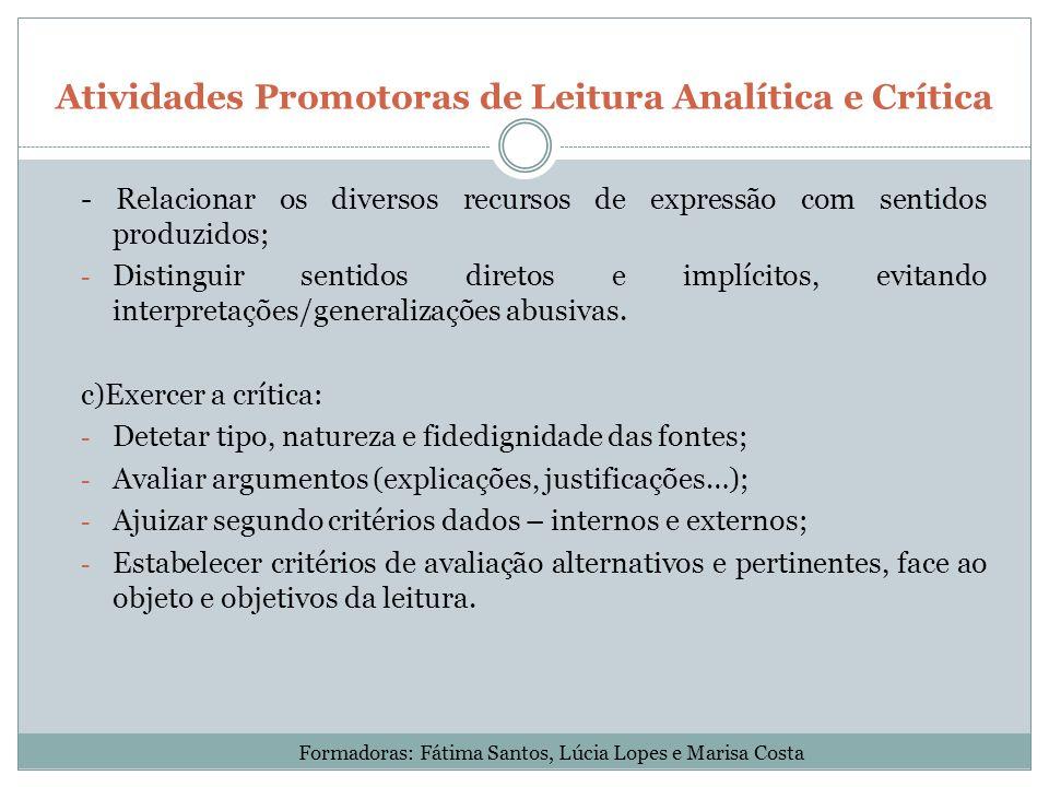 Atividades Promotoras de Leitura Analítica e Crítica - Relacionar os diversos recursos de expressão com sentidos produzidos; - Distinguir sentidos dir