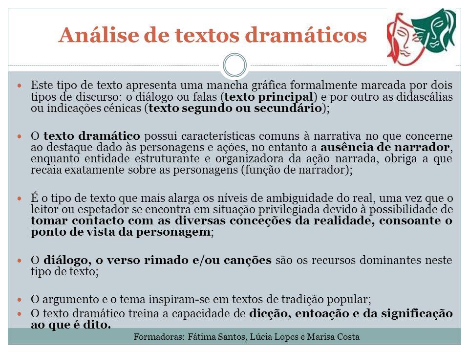 Análise de textos dramáticos Este tipo de texto apresenta uma mancha gráfica formalmente marcada por dois tipos de discurso: o diálogo ou falas (texto