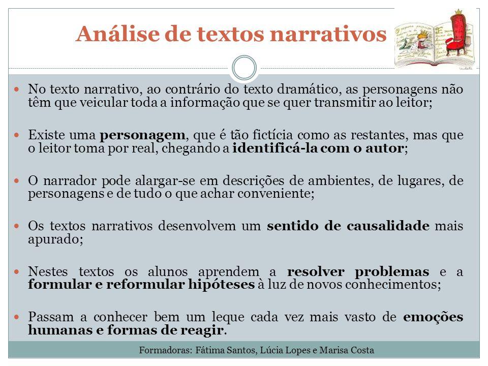 Análise de textos narrativos No texto narrativo, ao contrário do texto dramático, as personagens não têm que veicular toda a informação que se quer tr