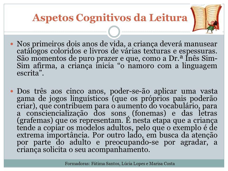 Aspetos Cognitivos da Leitura Nos primeiros dois anos de vida, a criança deverá manusear catálogos coloridos e livros de várias texturas e espessuras.