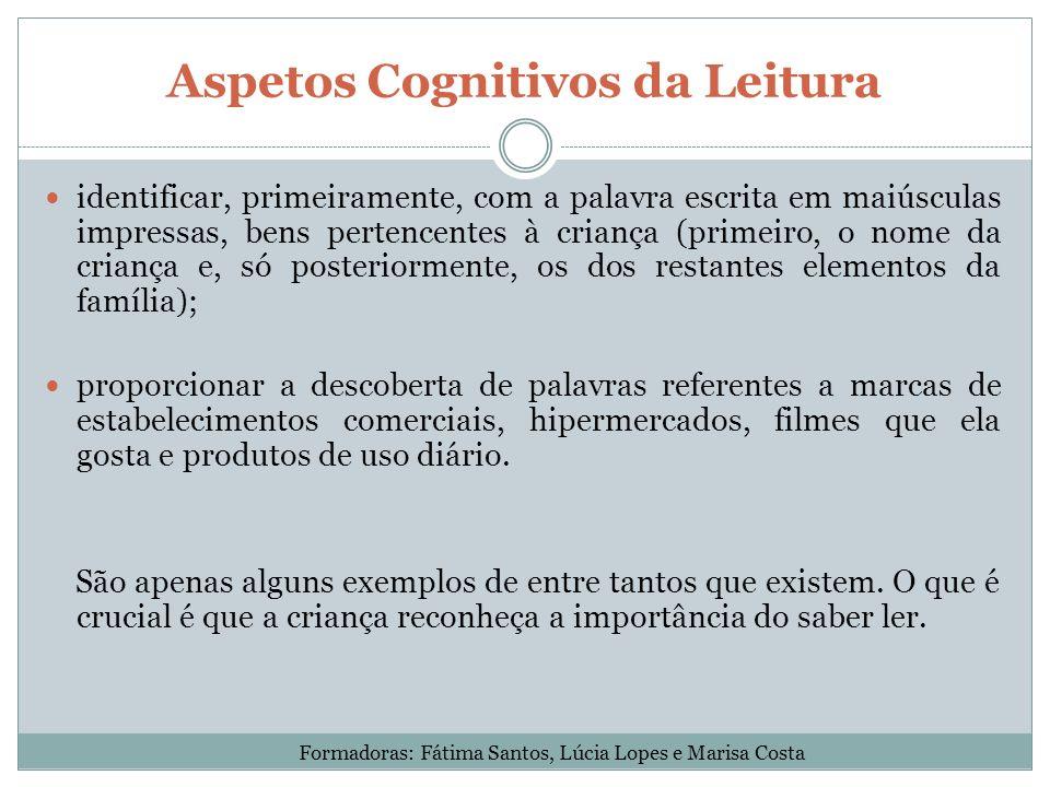 Aspetos Cognitivos da Leitura identificar, primeiramente, com a palavra escrita em maiúsculas impressas, bens pertencentes à criança (primeiro, o nome
