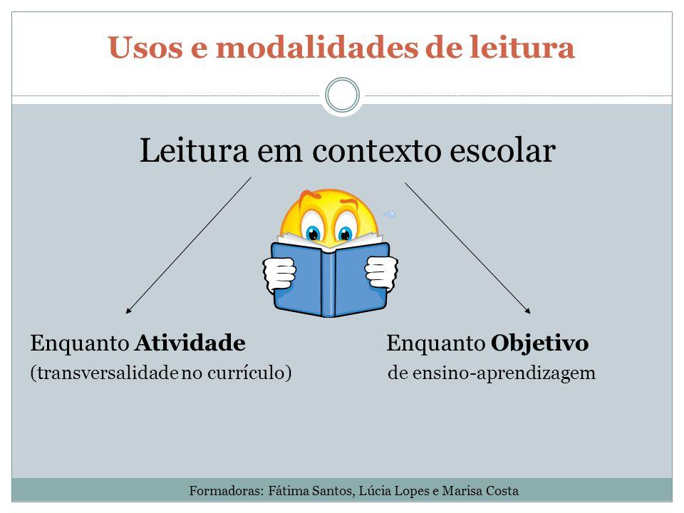 Usos e modalidades de leitura Leitura em contexto escolar Enquanto Atividade Enquanto Objetivo (transversalidade no currículo) de ensino-aprendizagem