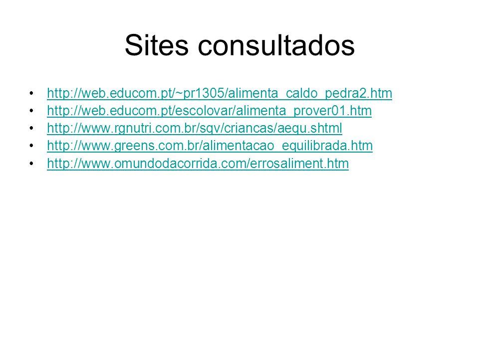 Sites consultados http://web.educom.pt/~pr1305/alimenta_caldo_pedra2.htm http://web.educom.pt/escolovar/alimenta_prover01.htm http://www.rgnutri.com.b