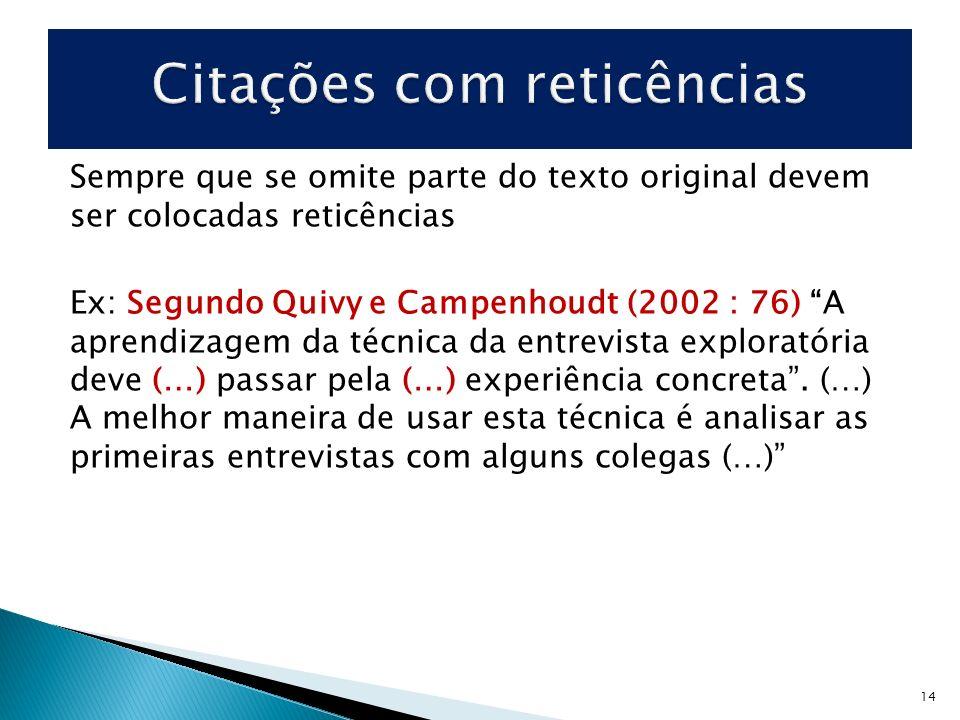 Sempre que se omite parte do texto original devem ser colocadas reticências Ex: Segundo Quivy e Campenhoudt (2002 : 76) A aprendizagem da técnica da e