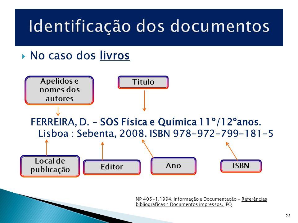 23 No caso dos livros FERREIRA, D. – SOS Física e Química 11º/12ºanos. Lisboa : Sebenta, 2008. ISBN 978-972-799-181-5 No caso dos livros FERREIRA, D.