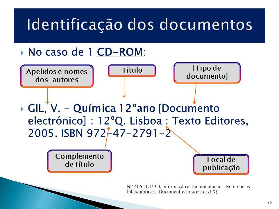 25 No caso de 1 CD-ROM: GIL, V. - Química 12ºano [Documento electrónico] : 12ºQ. Lisboa : Texto Editores, 2005. ISBN 972-47-2791-2 No caso de 1 CD-ROM