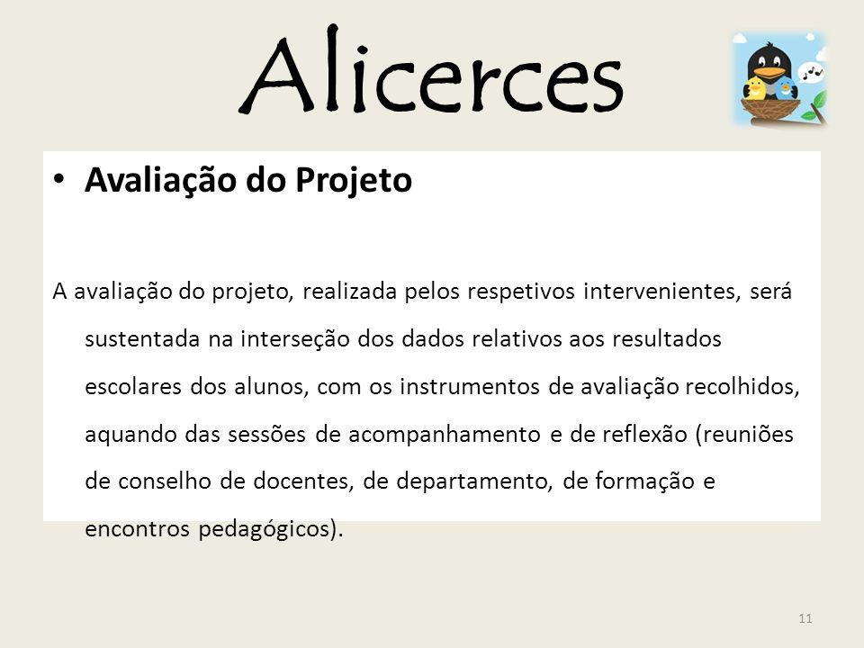Alicerces Avaliação do Projeto A avaliação do projeto, realizada pelos respetivos intervenientes, será sustentada na interseção dos dados relativos ao