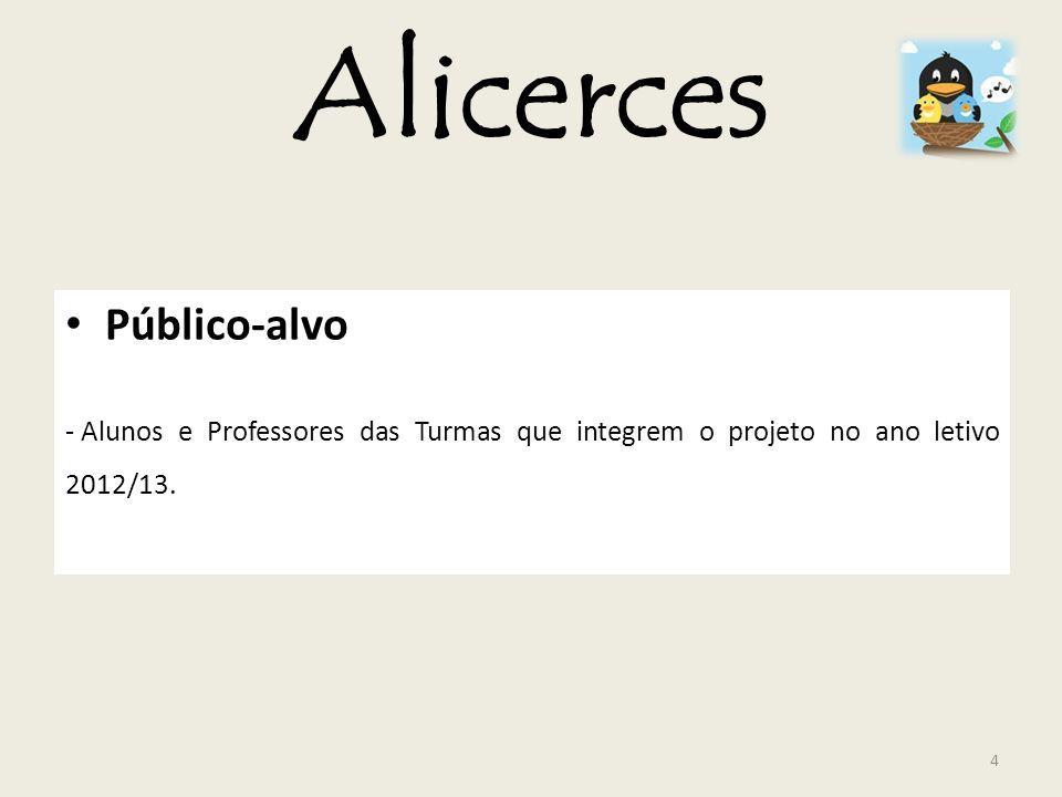 Alicerces Público-alvo - Alunos e Professores das Turmas que integrem o projeto no ano letivo 2012/13. 4