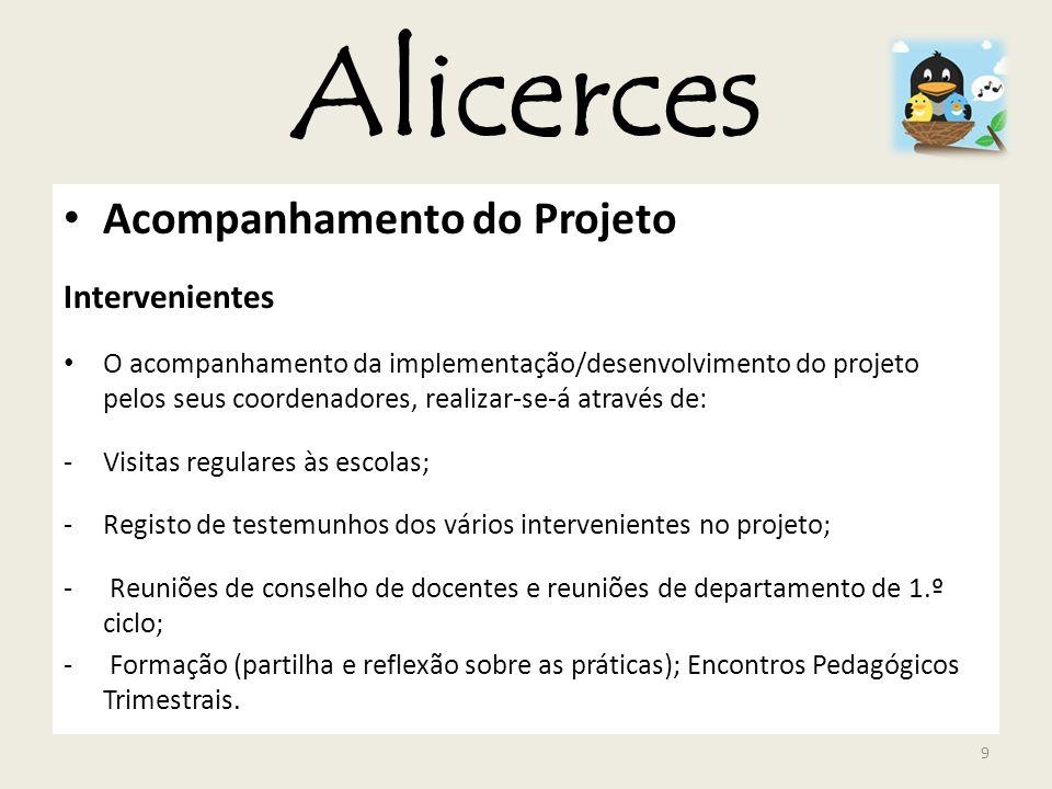 Alicerces Acompanhamento do Projeto Intervenientes O acompanhamento da implementação/desenvolvimento do projeto pelos seus coordenadores, realizar-se-