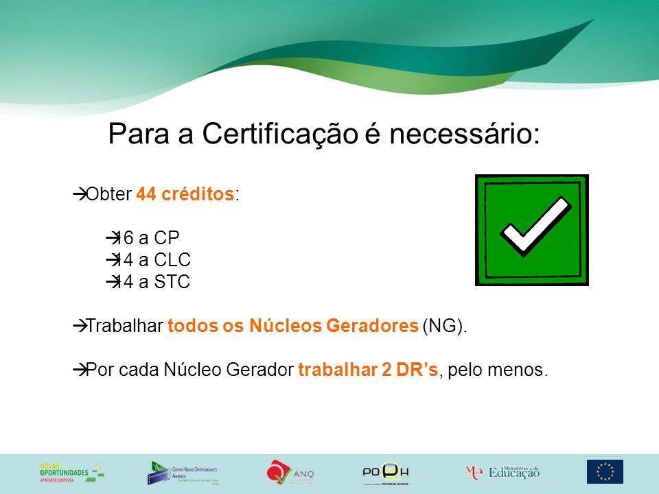 Para a Certificação é necessário: Obter 44 créditos: 16 a CP 14 a CLC 14 a STC Trabalhar todos os Núcleos Geradores (NG). Por cada Núcleo Gerador trab