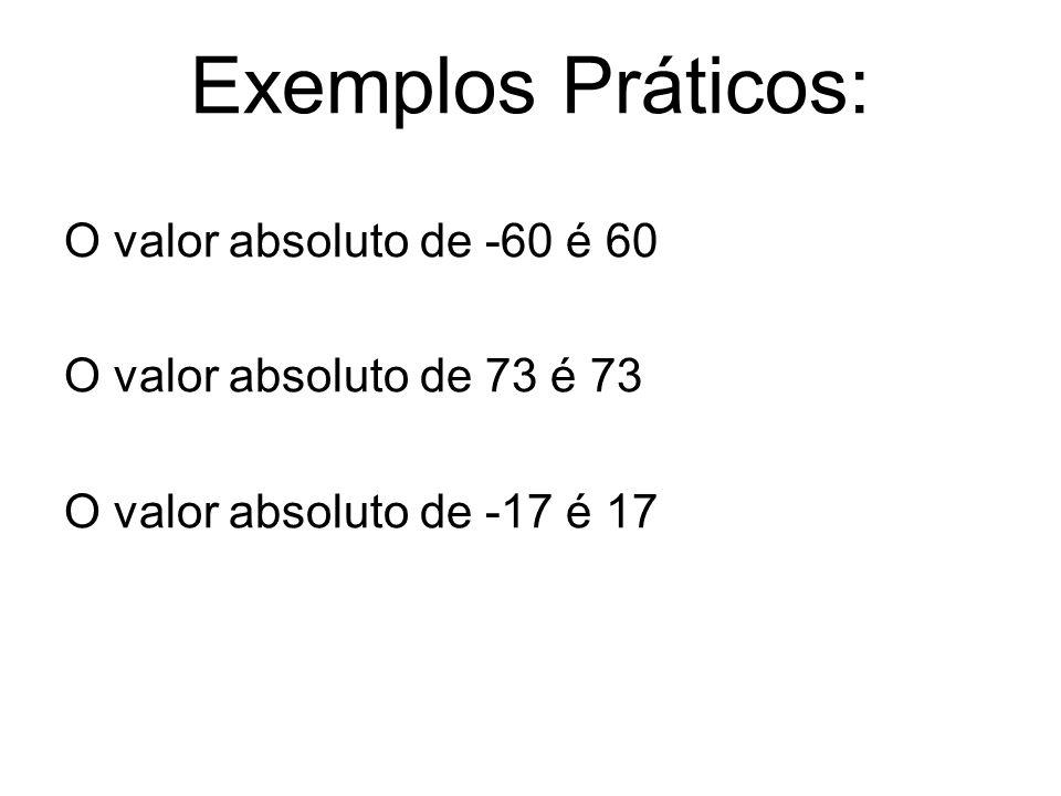 Exemplos Práticos: O valor absoluto de -60 é 60 O valor absoluto de 73 é 73 O valor absoluto de -17 é 17