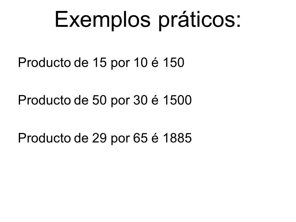 Exemplos práticos: Producto de 15 por 10 é 150 Producto de 50 por 30 é 1500 Producto de 29 por 65 é 1885