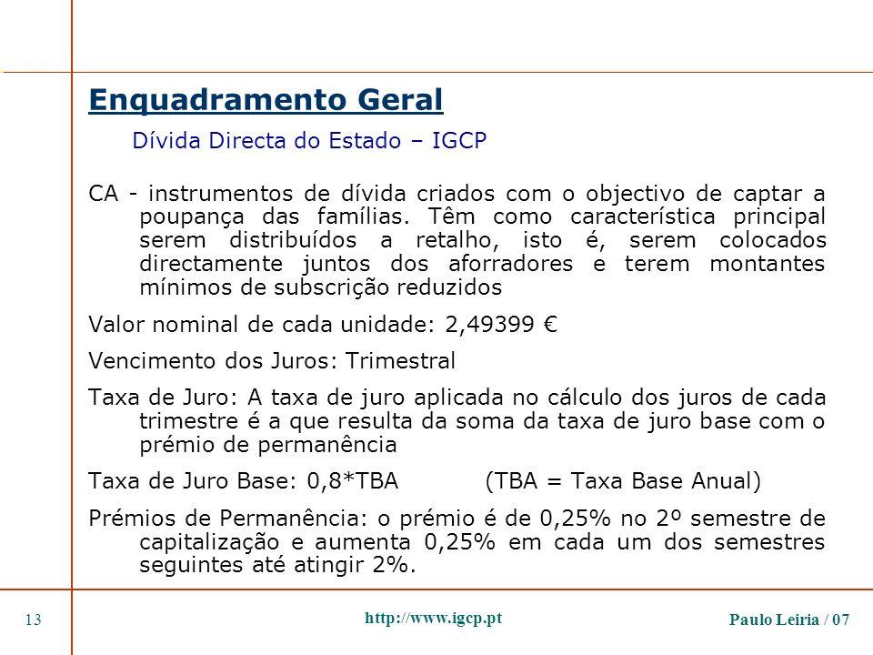 Paulo Leiria / 0713 http://www.igcp.pt Enquadramento Geral Dívida Directa do Estado – IGCP CA - instrumentos de dívida criados com o objectivo de capt