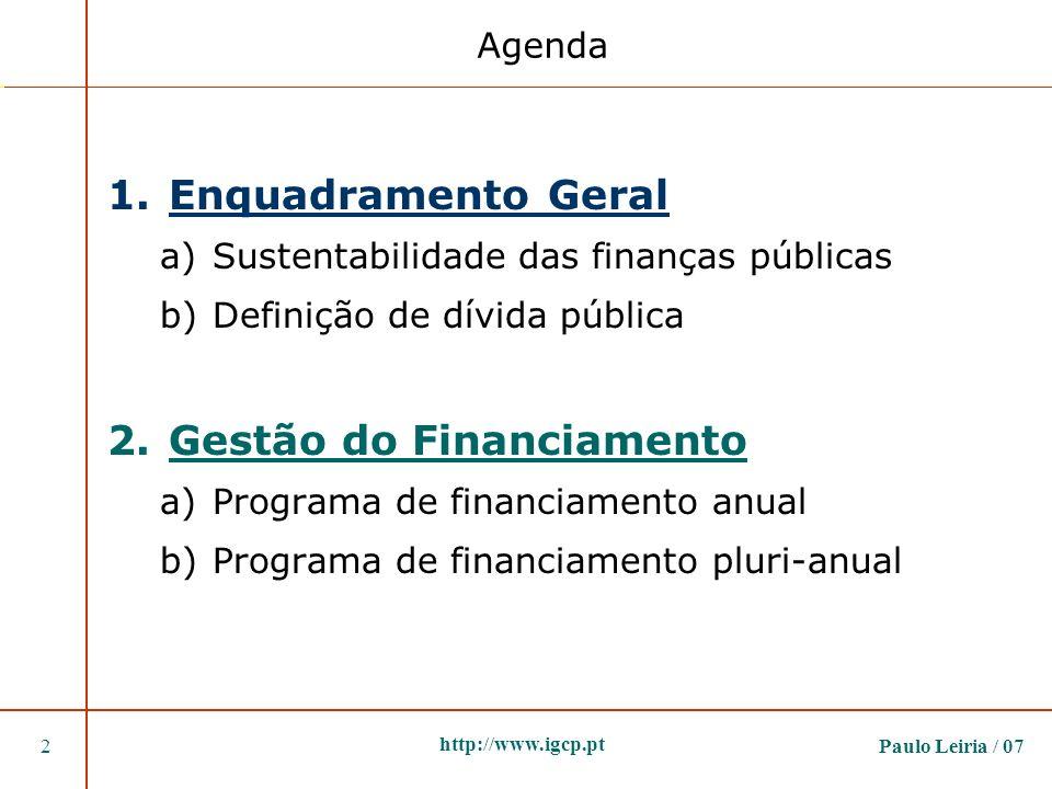 Paulo Leiria / 072 http://www.igcp.pt 1.Enquadramento Geral a)Sustentabilidade das finanças públicas b)Definição de dívida pública 2.Gestão do Financi