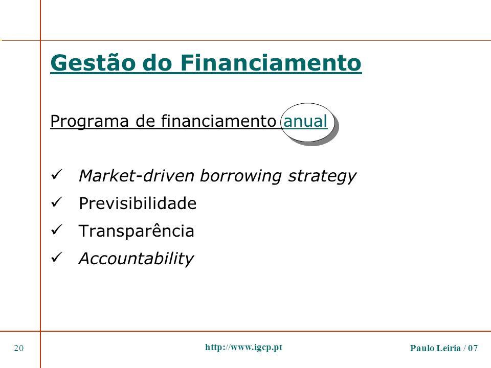 Paulo Leiria / 0720 http://www.igcp.pt Gestão do Financiamento Programa de financiamento anual Market-driven borrowing strategy Previsibilidade Transp