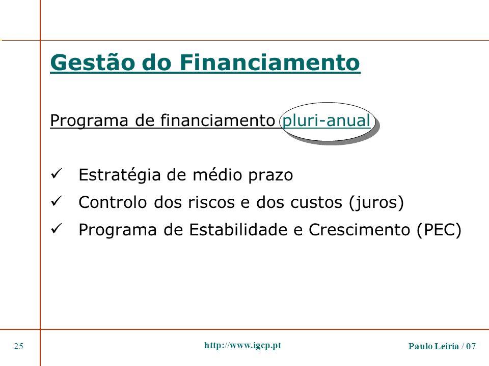 Paulo Leiria / 0725 http://www.igcp.pt Gestão do Financiamento Programa de financiamento pluri-anual Estratégia de médio prazo Controlo dos riscos e d