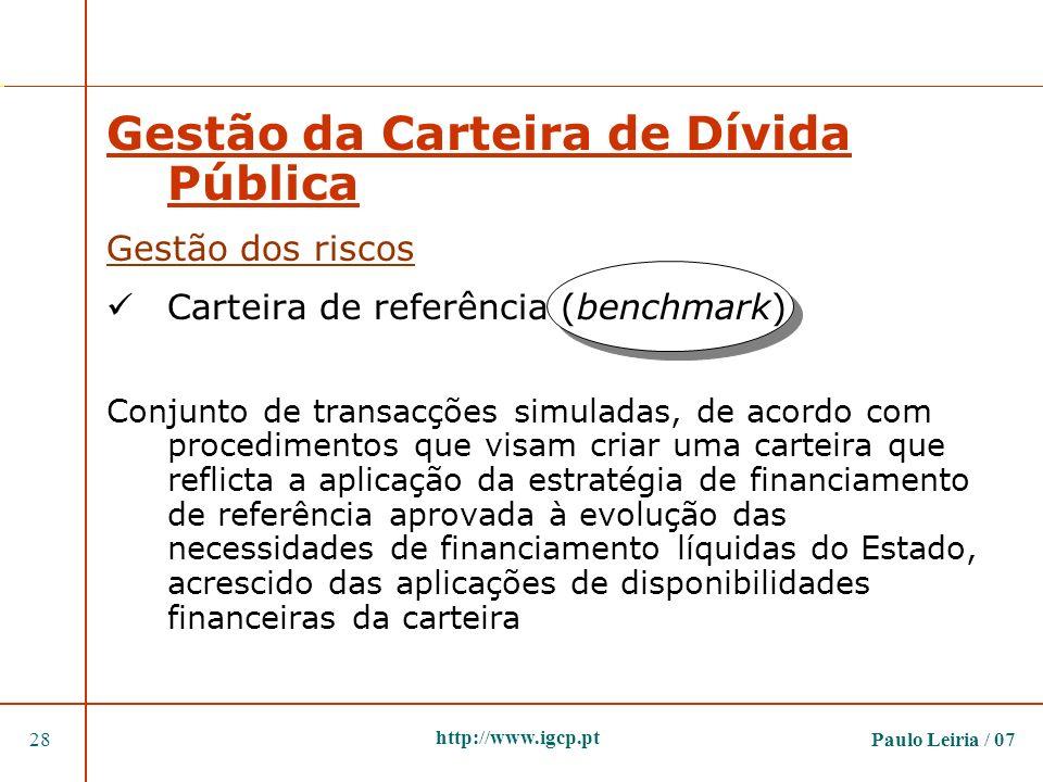Paulo Leiria / 0728 http://www.igcp.pt Gestão da Carteira de Dívida Pública Gestão dos riscos Carteira de referência (benchmark) Conjunto de transacçõ