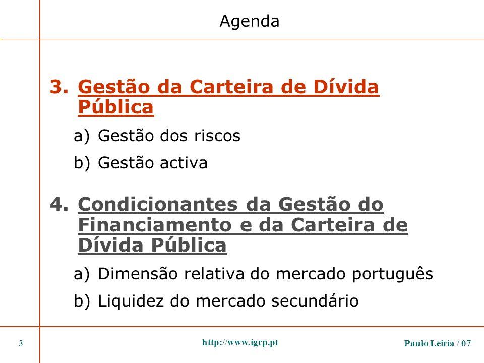 Paulo Leiria / 073 http://www.igcp.pt 3.Gestão da Carteira de Dívida Pública a)Gestão dos riscos b)Gestão activa 4.Condicionantes da Gestão do Financi