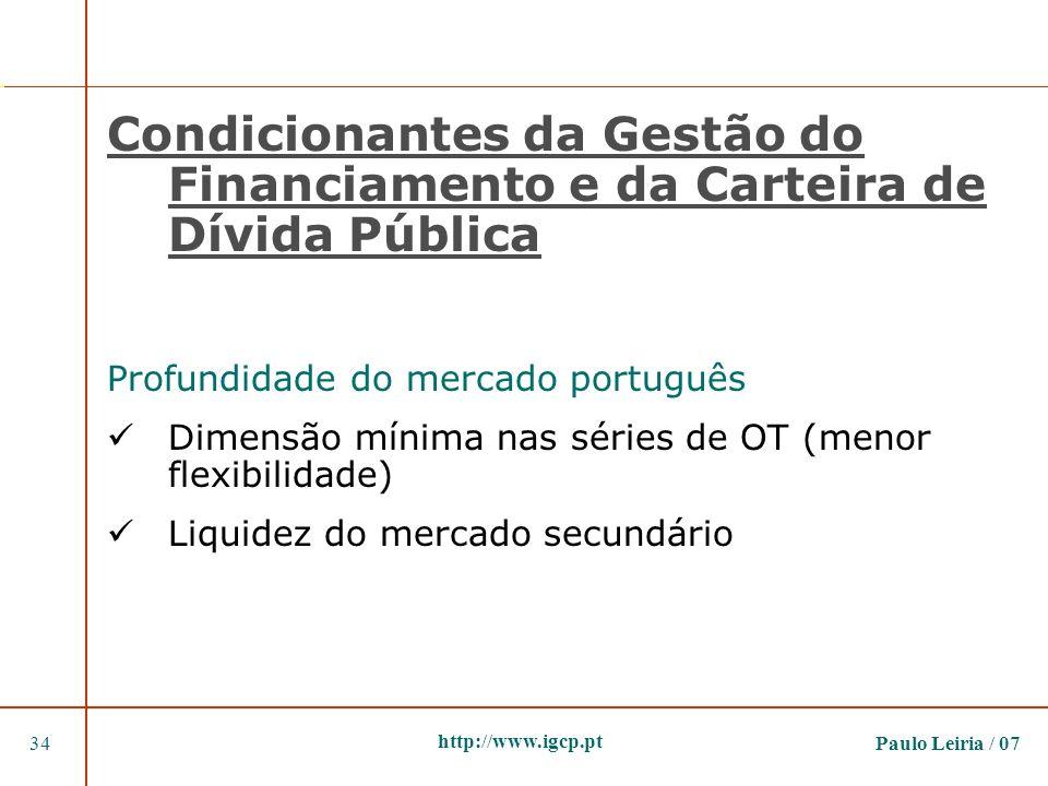 Paulo Leiria / 0734 http://www.igcp.pt Condicionantes da Gestão do Financiamento e da Carteira de Dívida Pública Profundidade do mercado português Dim