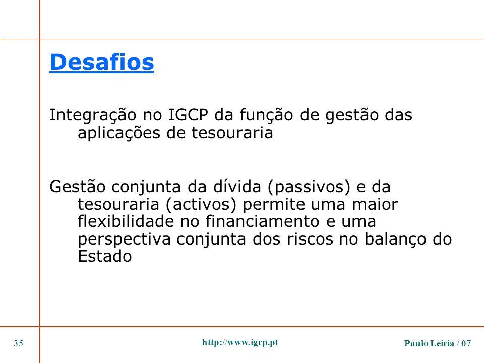 Paulo Leiria / 0735 http://www.igcp.pt Desafios Integração no IGCP da função de gestão das aplicações de tesouraria Gestão conjunta da dívida (passivo