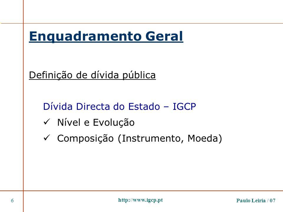 Paulo Leiria / 076 http://www.igcp.pt Enquadramento Geral Definição de dívida pública Dívida Directa do Estado – IGCP Nível e Evolução Composição (Ins