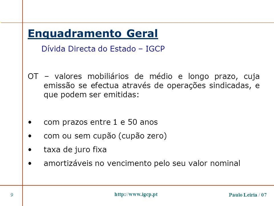 Paulo Leiria / 079 http://www.igcp.pt Enquadramento Geral Dívida Directa do Estado – IGCP OT – valores mobiliários de médio e longo prazo, cuja emissã