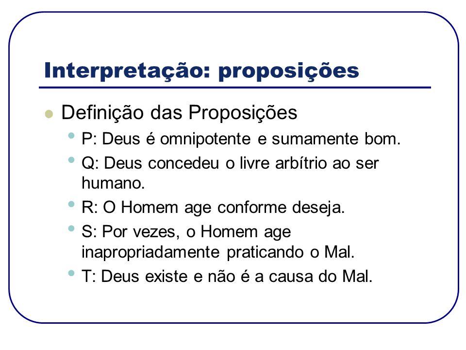 Interpretação: proposições Definição das Proposições P: Deus é omnipotente e sumamente bom. Q: Deus concedeu o livre arbítrio ao ser humano. R: O Home