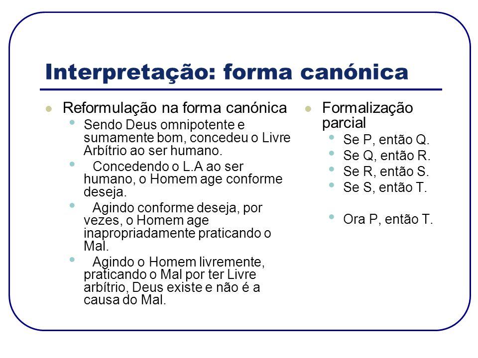 Interpretação: forma canónica Reformulação na forma canónica Sendo Deus omnipotente e sumamente bom, concedeu o Livre Arbítrio ao ser humano. Conceden