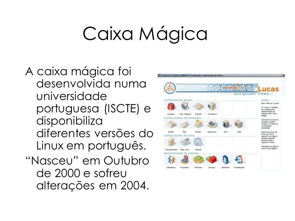 Caixa Mágica A caixa mágica foi desenvolvida numa universidade portuguesa (ISCTE) e disponibiliza diferentes versões do Linux em português. Nasceu em