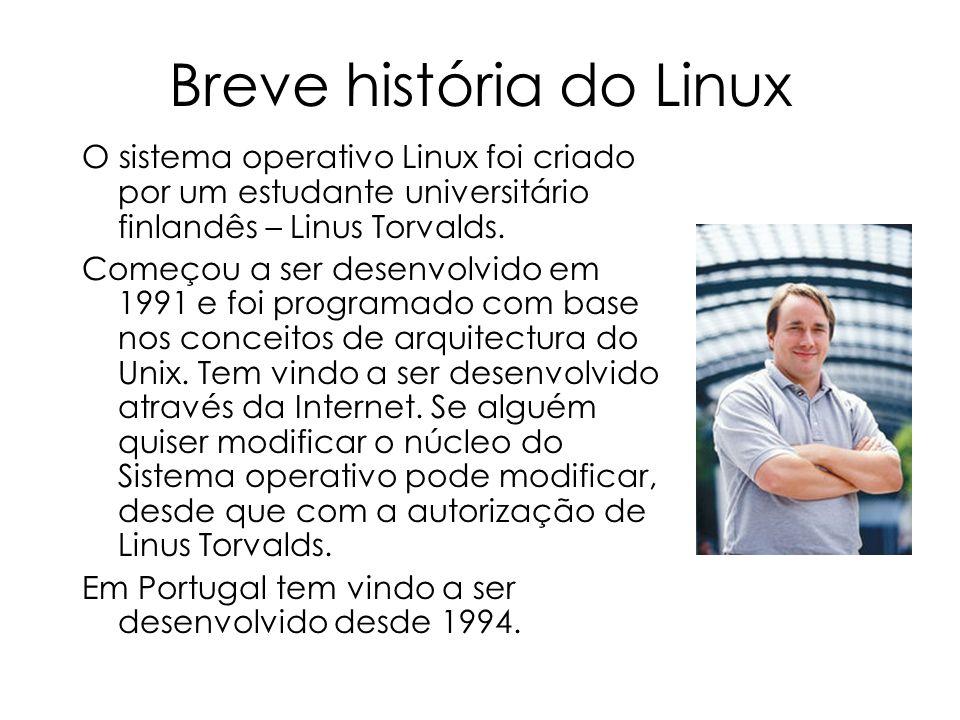 Breve história do Linux O sistema operativo Linux foi criado por um estudante universitário finlandês – Linus Torvalds. Começou a ser desenvolvido em