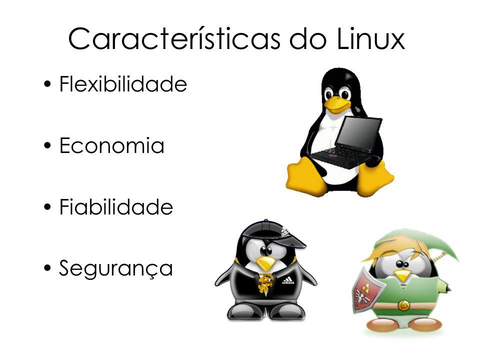 Características do Linux Flexibilidade Economia Fiabilidade Segurança