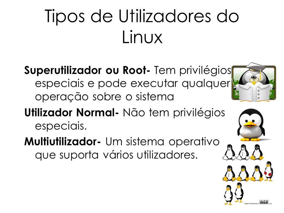 Tipos de Utilizadores do Linux Superutilizador ou Root- Tem privilégios especiais e pode executar qualquer operação sobre o sistema Utilizador Normal-