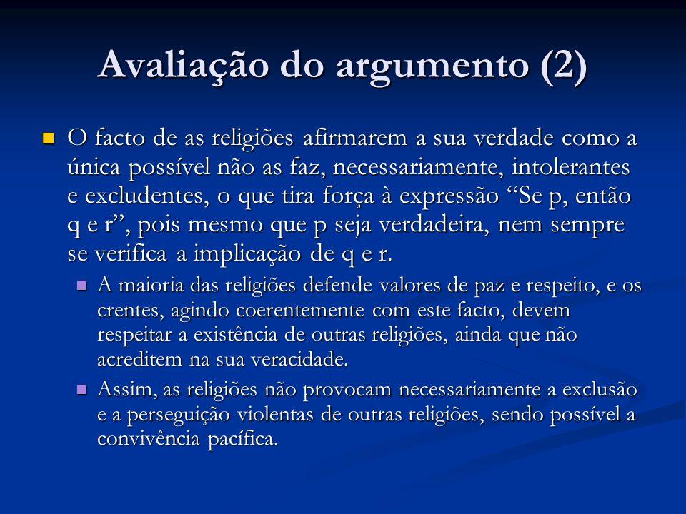 Avaliação do argumento (2) O facto de as religiões afirmarem a sua verdade como a única possível não as faz, necessariamente, intolerantes e excludent