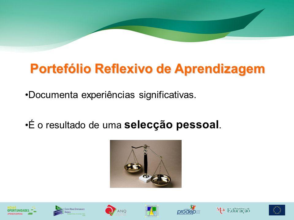 Portefólio Reflexivo de Aprendizagem Documenta experiências significativas. É o resultado de uma selecção pessoal.