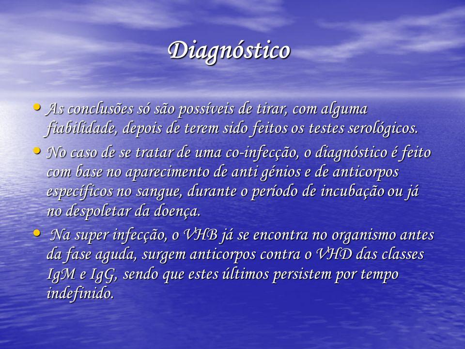 Diagnóstico Diagnóstico As conclusões só são possíveis de tirar, com alguma fiabilidade, depois de terem sido feitos os testes serológicos. As conclus