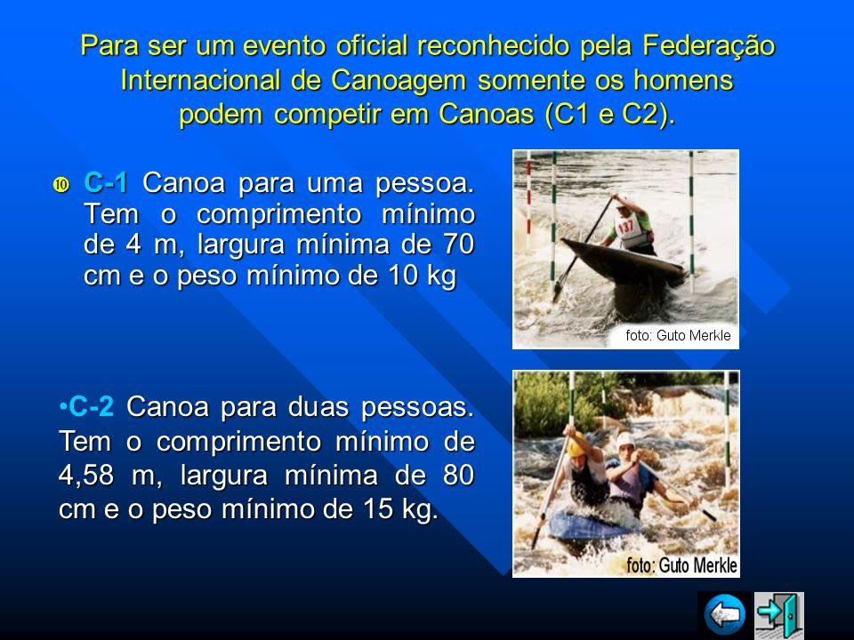 Para ser um evento oficial reconhecido pela Federação Internacional de Canoagem somente os homens podem competir em Canoas (C1 e C2). C-1 Canoa para u