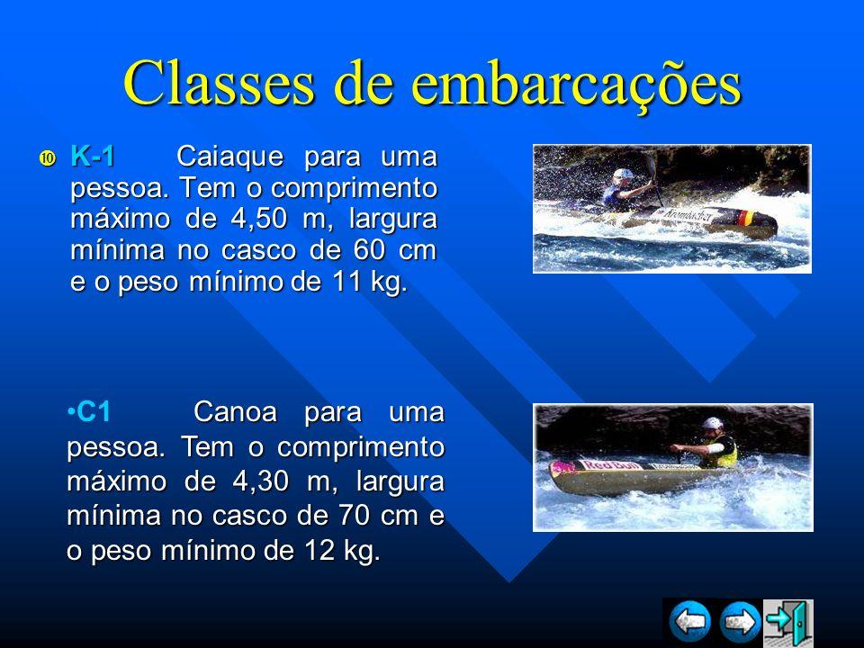 Classes de embarcações K-1 Caiaque para uma pessoa. Tem o comprimento máximo de 4,50 m, largura mínima no casco de 60 cm e o peso mínimo de 11 kg. K-1