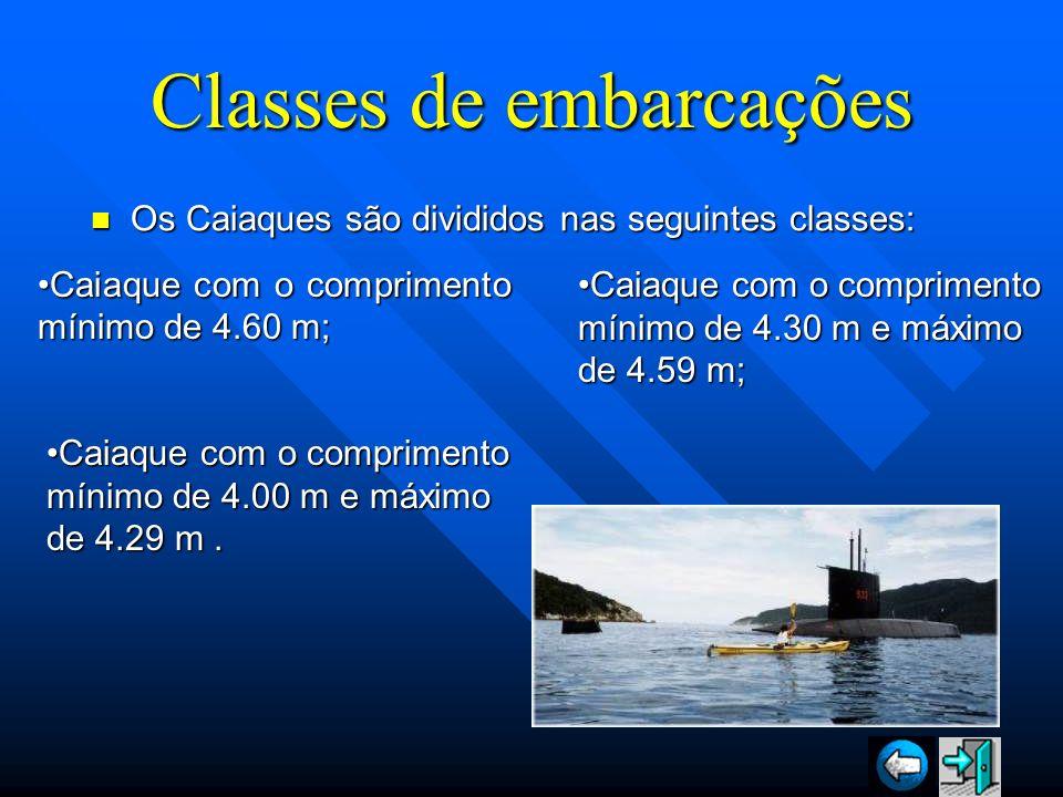 Classes de embarcações Os Caiaques são divididos nas seguintes classes: Os Caiaques são divididos nas seguintes classes: Caiaque com o comprimento mín