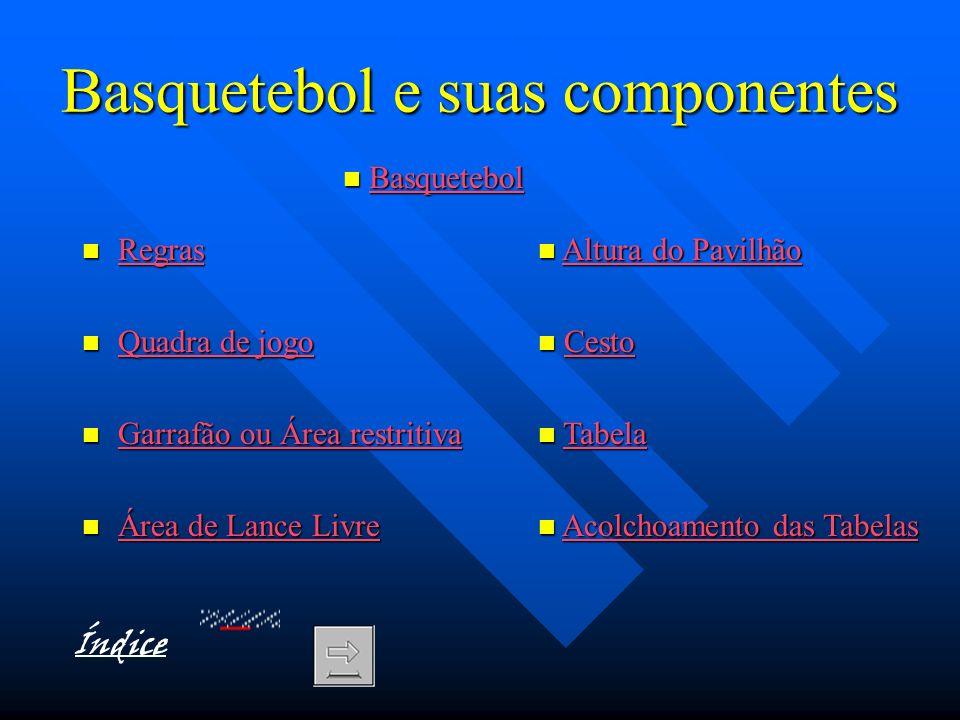 Basquetebol e suas componentes Regras Regras Regras Quadra de jogo Quadra de jogo Quadra de jogo Quadra de jogo Garrafão ou Área restritiva Garrafão o