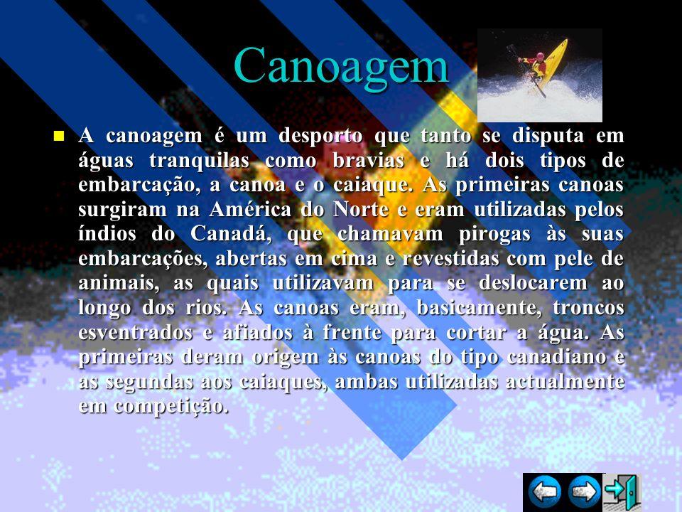 Canoagem A canoagem é um desporto que tanto se disputa em águas tranquilas como bravias e há dois tipos de embarcação, a canoa e o caiaque. As primeir