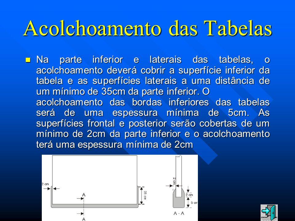Acolchoamento das Tabelas Na parte inferior e laterais das tabelas, o acolchoamento deverá cobrir a superfície inferior da tabela e as superfícies lat