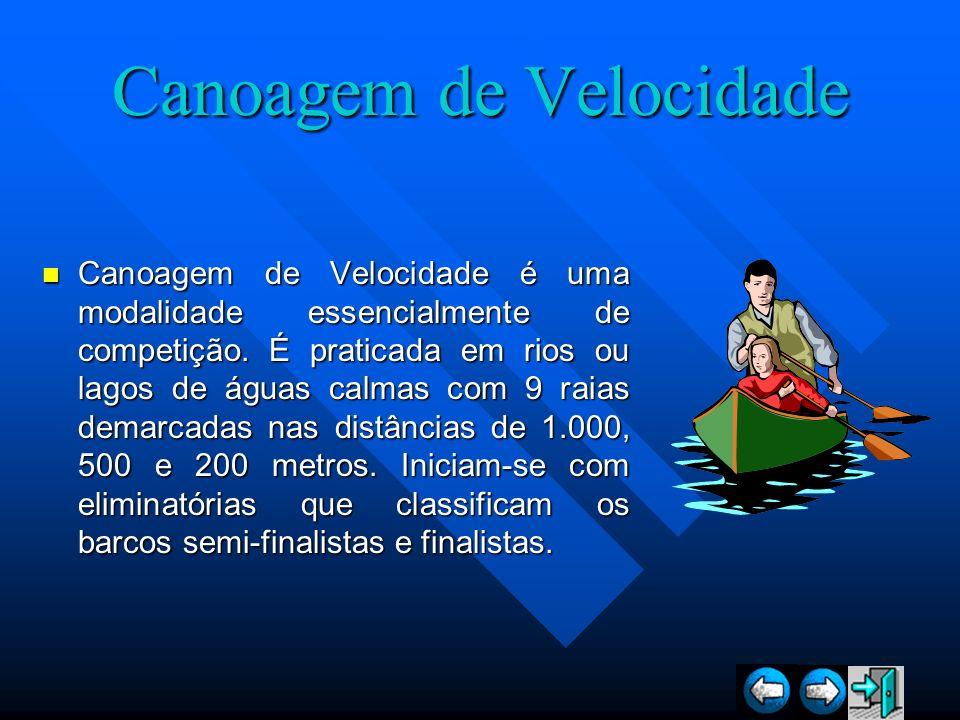 Canoagem de Velocidade Canoagem de Velocidade é uma modalidade essencialmente de competição. É praticada em rios ou lagos de águas calmas com 9 raias