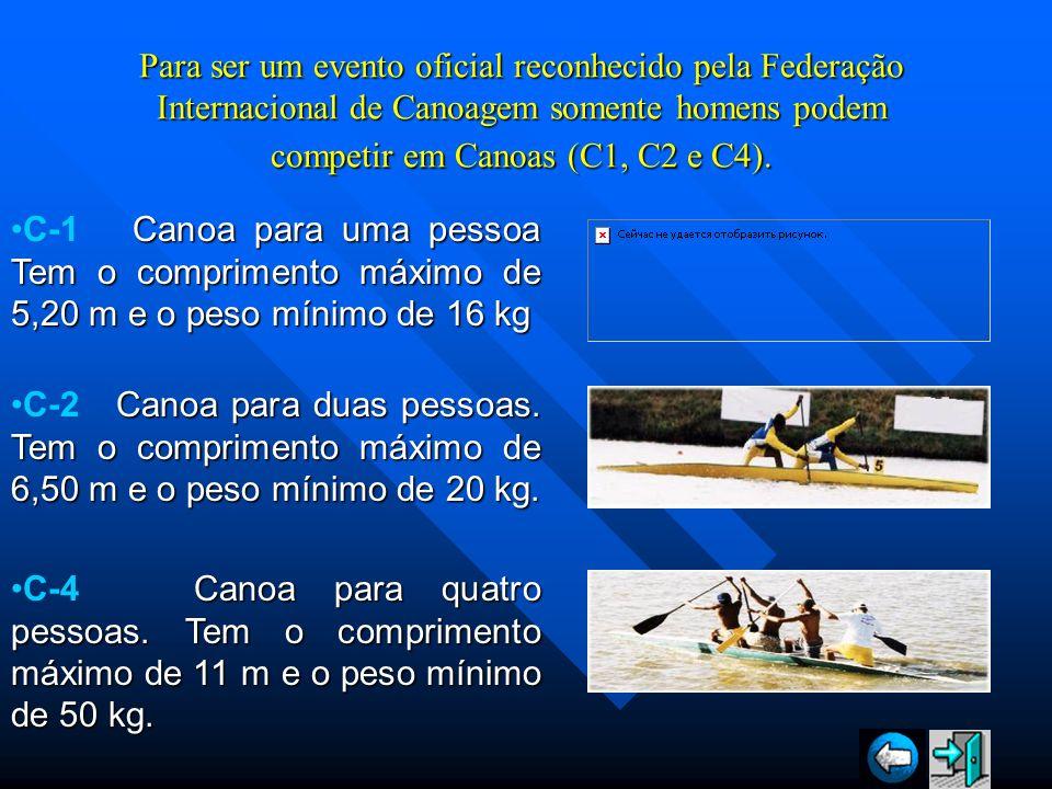 Para ser um evento oficial reconhecido pela Federação Internacional de Canoagem somente homens podem competir em Canoas (C1, C2 e C4). Canoa para uma