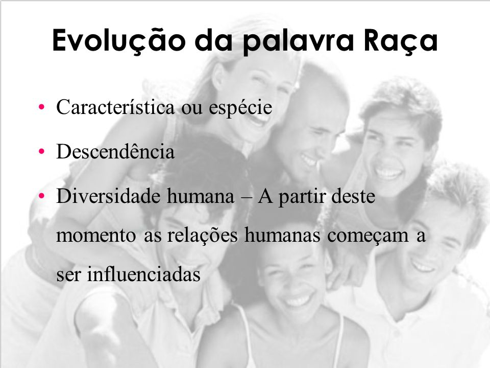 Evolução da palavra Raça Característica ou espécie Descendência Diversidade humana – A partir deste momento as relações humanas começam a ser influenc