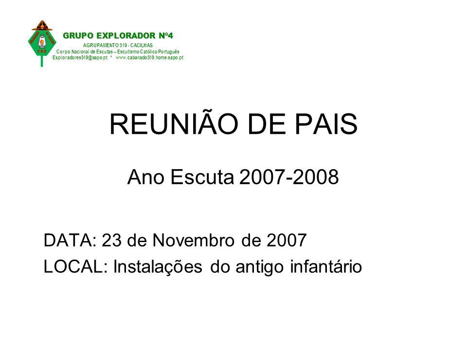 REUNIÃO DE PAIS Ano Escuta 2007-2008 DATA: 23 de Novembro de 2007 LOCAL: Instalações do antigo infantário GRUPO EXPLORADOR Nº4 AGRUPAMENTO 510 - CACIL