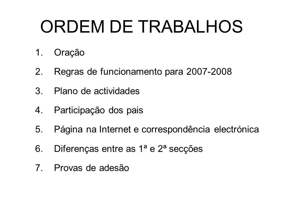 ORDEM DE TRABALHOS 1.Oração 2.Regras de funcionamento para 2007-2008 3.Plano de actividades 4.Participação dos pais 5.Página na Internet e correspondê