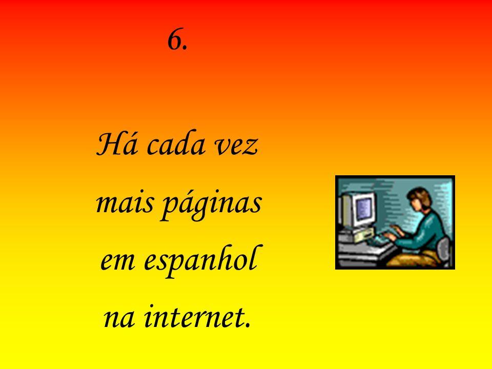 6.6. Há cada vez mais páginas em espanhol na internet.