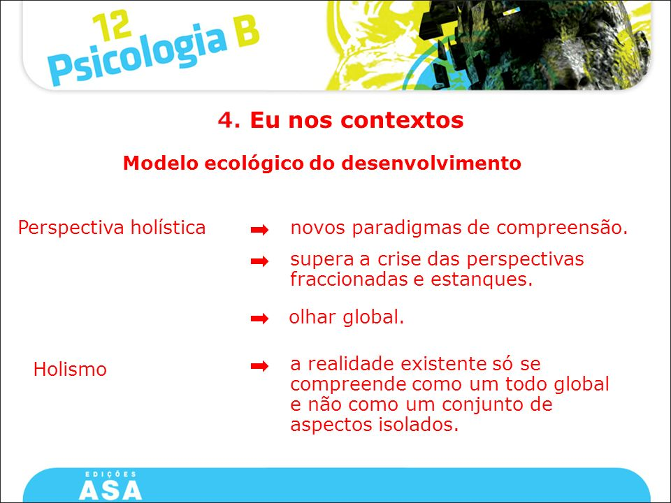 Modelo ecológico do desenvolvimento Perspectiva holística supera a crise das perspectivas fraccionadas e estanques. novos paradigmas de compreensão. o