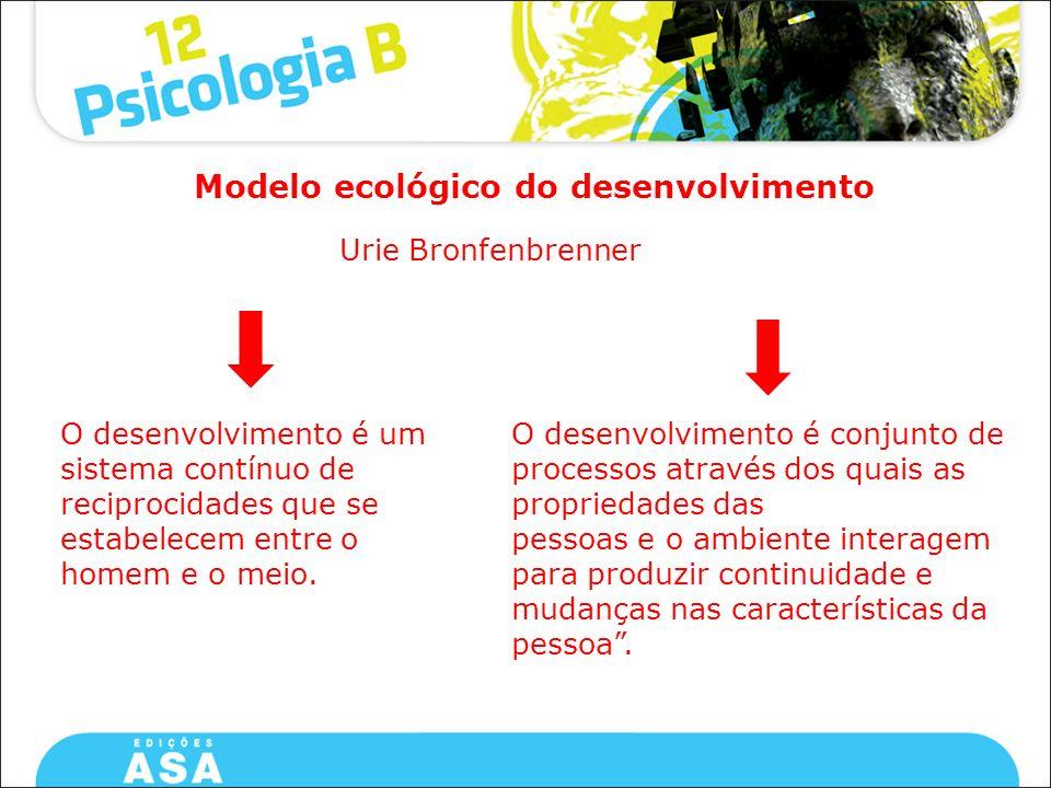 Urie Bronfenbrenner Modelo ecológico do desenvolvimento O desenvolvimento é um sistema contínuo de reciprocidades que se estabelecem entre o homem e o