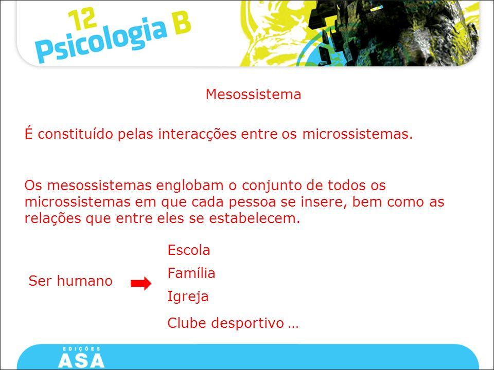 Mesossistema É constituído pelas interacções entre os microssistemas. Os mesossistemas englobam o conjunto de todos os microssistemas em que cada pess